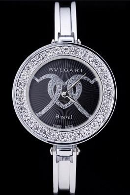 Bvlgari B.ZERO1 30mm Black Dial With Model Steel Case With Diamonds Steel Bracelet Bvlgari Replica Watch