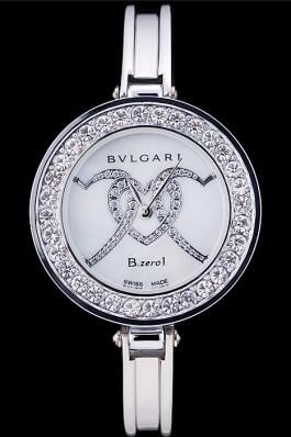 Bvlgari B.ZERO1 30mm White Dial With Model Steel Case With Diamonds Steel Bracelet Bvlgari Replica Watch