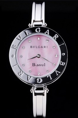 Bvlgari B.ZERO1 30mm Pink Dial Stainless Steel Case Black Bezel Steel Bracelet Bvlgari Replica Watch