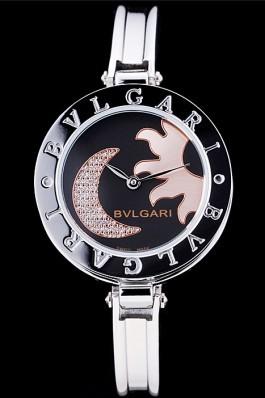 Bvlgari B.ZERO1 30mm Black Sun And Moon Dial Steel Case Black Bezel Steel Bracelet Bvlgari Replica Watch