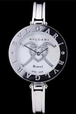 Bvlgari B.ZERO1 30mm White Diamond Heart Dial Steel Case Black Bezel Steel Bracelet Bvlgari Replica Watch