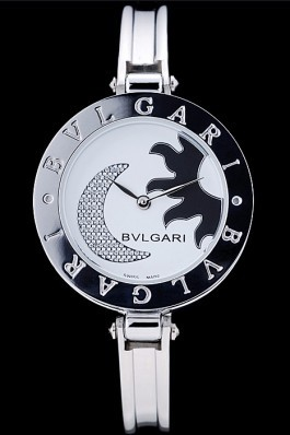 Bvlgari B.ZERO1 30mm White Sun And Moon Dial Steel Case Black Bezel Steel Bracelet Bvlgari Replica Watch