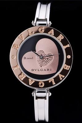 Bvlgari B.ZERO1 30mm Black Heart Dial Steel Case Brown Bezel Steel Bracelet Bvlgari Replica Watch