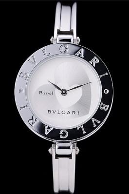 Bvlgari B.ZERO1 30mm White Heart Dial Steel Case Black Bezel Steel Bracelet Bvlgari Replica Watch