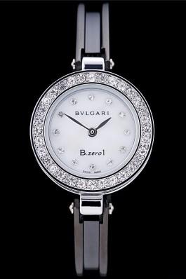 Bvlgari B.ZERO1 24mm White Dial Stainless Steel Case With Diamonds Black Steel Bracelet Bvlgari Replica Watch