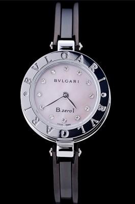 Bvlgari B.ZERO1 24mm Pink Dial Stainless Steel Case Black Steel Bracelet Bvlgari Replica Watch
