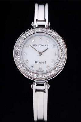 Bvlgari B.ZERO1 24mm White Dial Stainless Steel Case With Diamonds Steel Bracelet Bvlgari Replica Watch