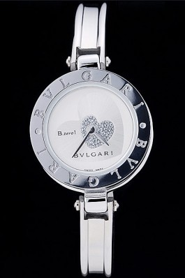 Bvlgari B.ZERO1 24mm White Heart Dial Steel Case Black Bezel Steel Bracelet Bvlgari Replica Watch