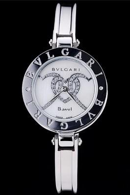 Bvlgari B.ZERO1 24mm White Hearts Dial Steel Case Black Bezel Steel Bracelet Bvlgari Replica Watch