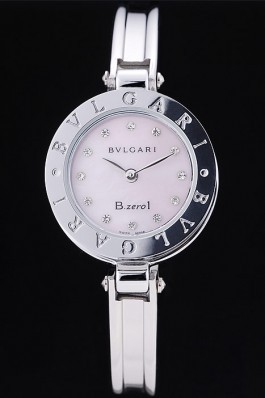 Bvlgari B.ZERO1 24mm Pink Dial Steel Case Black Bezel Steel Bracelet Bvlgari Replica Watch