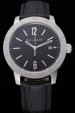 Bvlgari Solotempo Black Dial Stainless Steel Case Black Leather Strap 622738 Bvlgari Replica Watch