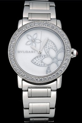Bvlgari Solotempo Flower Motif Dial Diamond Bezel Stainless Steel Case And Bracelet 622748 Bvlgari Replica Watch