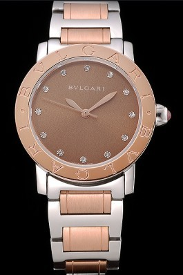 Bvlgari Solotempo Gold Dial With Diamonds Stainless Steel Case Two Tone Bracelet 622741 Bvlgari Replica Watch