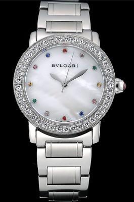 Bvlgari Solotempo Pearl Dial Diamond Bezel Stainless Steel Case And Diamonds 622747 Bvlgari Replica Watch