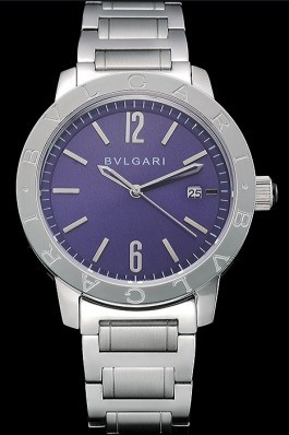 Bvlgari Solotempo Purple Dial Stainless Steel Case And Bracelet 622739 Bvlgari Replica Watch