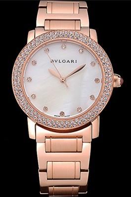 Bvlgari Solotempo White Dial Diamond Bezel Rose Gold Case And Bracelet 622744 Bvlgari Replica Watch