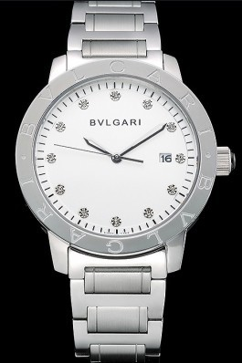 Bvlgari Solotempo White Dial With Diamonds Stainless Steel Case And Bracelet 622740 Bvlgari Replica Watch