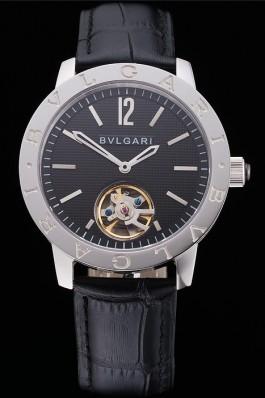 Bvlgari Tourbillon Black Dial Silver Case Black Leather Strap  Bvlgari Replica Watch