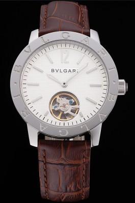 Bvlgari Tourbillon White Dial Silver Case Brown Leather Strap  Bvlgari Replica Watch