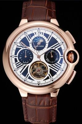 Cartier Ballon Bleu Flying Tourbillon Chronograph White Dial Rose Gold Case Brown Leather Strap Cartier Replica