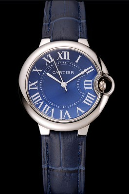 Cartier Ballon Bleu Silver Bezel with Dark Blue Dial and Dark Blue Leather Band 621555 Cartier Replica
