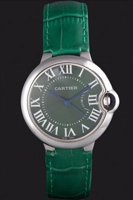 Cartier Ballon Bleu Silver Bezel with Green Dial and Green Leather Band 621553 Cartier Replica