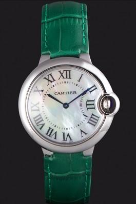 Cartier Ballon Bleu Silver Bezel with Pearl Dial Green Leather Band 621552 Cartier Replica