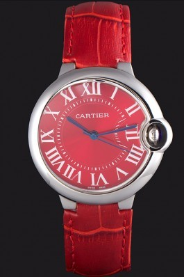 Cartier Ballon Bleu Silver Bezel with Red Dial and Red Leather Band 621556 Cartier Replica