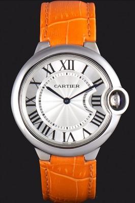 Cartier Ballon Bleu Silver Bezel with White Dial and Orange Leather Band 621550 Cartier Replica