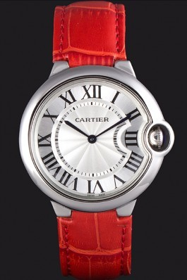 Cartier Ballon Bleu Silver Bezel with White Dial Red Leather Band 621551 Cartier Replica
