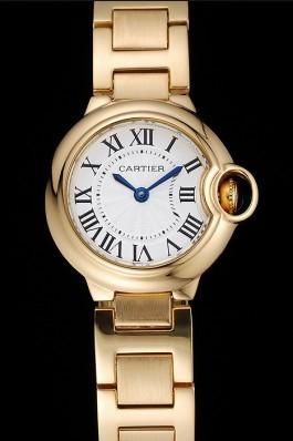 Cartier Ballon Bleu White Dial Yellow Gold Stainless Steel Bracelet 1454191 Cartier Replica