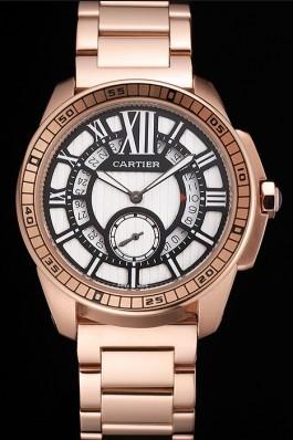 Cartier Calibre De Cartier Small Seconds Black And White Dial Rose Gold Case And Bracelet Cartier Replica