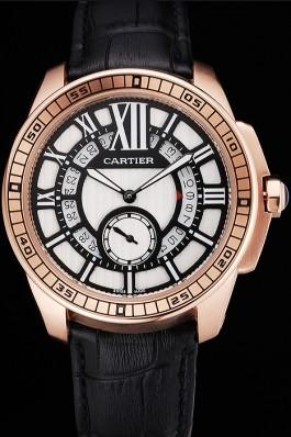 Cartier Calibre De Cartier Small Seconds Black And White Dial Rose Gold Case Black Leather Strap Cartier Replica