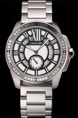 Cartier Calibre De Cartier Small Seconds Black And White Dial Stainless Steel Case And Bracelet Cartier Replica