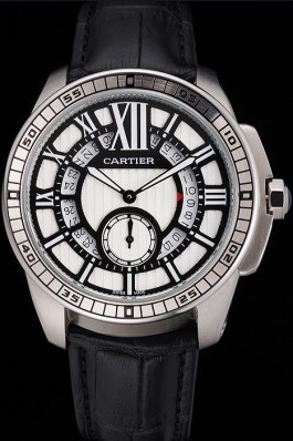 Cartier Calibre De Cartier Small Seconds Black And White Dial Stainless Steel Case Black Leather Strap Cartier Replica