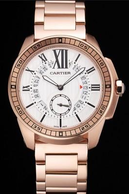 Cartier Calibre De Cartier Small Seconds White Dial Rose Gold Case And Bracelet Cartier Replica