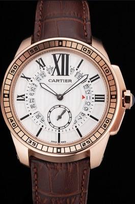 Cartier Calibre De Cartier Small Seconds White Dial Rose Gold Case Brown Leather Strap Cartier Replica
