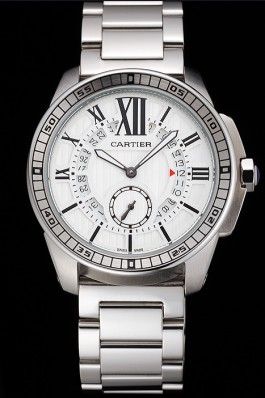 Cartier Calibre De Cartier Small Seconds White Dial Stainless Steel Case And Bracelet Cartier Replica