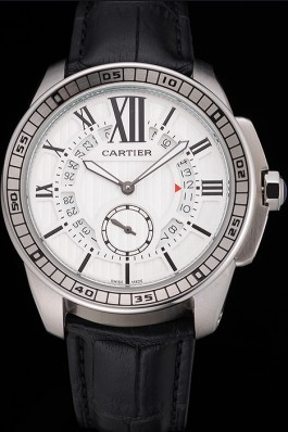 Cartier Calibre De Cartier Small Seconds White Dial Stainless Steel Case Black Leather Strap Cartier Replica