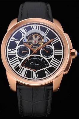 Cartier Calibre Tourbillon Black Dial Gold Case Black Leather Strap 622754 Cartier Replica