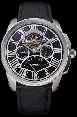 Cartier Calibre Tourbillon Black Dial Stainless Steel Case Black Leather Strap 622752 Cartier Replica