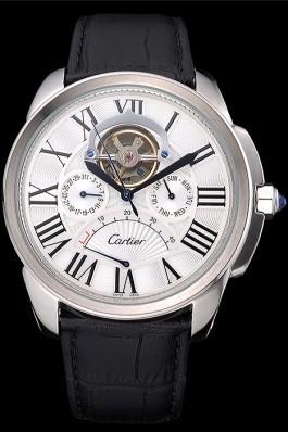 Cartier Calibre Tourbillon White Dial Stainless Steel Case Black Leather Strap 622751 Cartier Replica