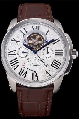 Cartier Calibre Tourbillon White Dial Stainless Steel Case Brown Leather Strap 622750 Cartier Replica
