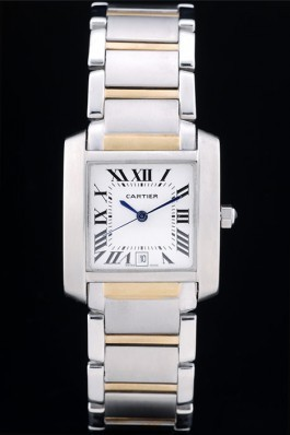 Cartier Tank Francaise 29mm White Dial Stainless Steel Case Two Tone Bracelet Cartier Replica