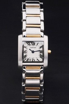 Cartier Tank Francaise 22mm White Dial Stainless Steel Case Two Tone Bracelet Cartier Replica
