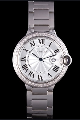 Cartier Ballon Bleu 42mm White Dial Diamonds Stainless Steel Case And Bracelet Cartier Replica