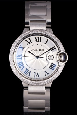 Cartier Ballon Bleu 44mm White Dial Diamonds Stainless Steel Case And Bracelet Cartier Replica