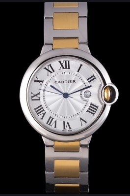 Cartier Ballon Bleu 42mm White Dial Stainless Steel Case Two Tone Bracelet Cartier Replica