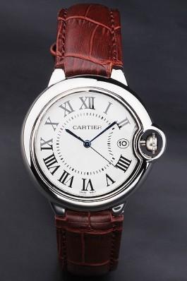 Cartier Ballon Bleu 42mm White Dial Stainless Steel Case Brown Leather Bracelet Cartier Replica