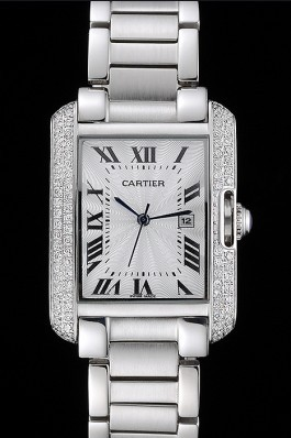 Cartier Tank Anglaise 30mm White Dial Diamonds Steel Case Stainless Steel Bracelet Cartier Replica